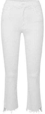 The Insider Frayed Cropped High-rise Flared Jeans - White