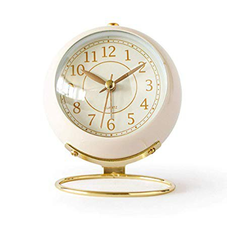 JUSTUP Small Table Clocks, Classic Non-Ticking Tabletop Alarm Clock Battery Operated Desk Clock with Backlight HD Glass for Bedroom Living Room Kitchen Indoor Decor (White): Home & Kitchen