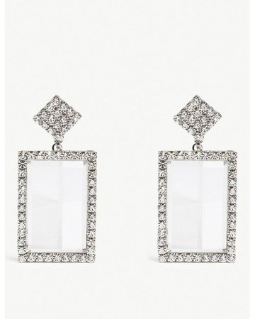 Alessandra Rich Silver-toned Crystal Drop Earrings