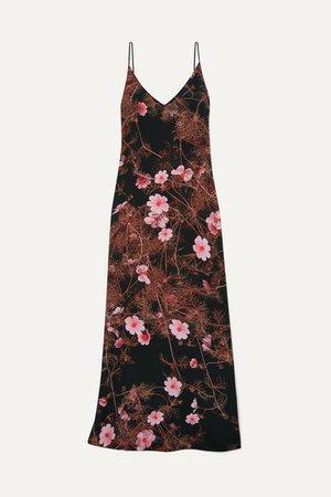 Floral-print Silk Crepe De Chine Maxi Dress - Black