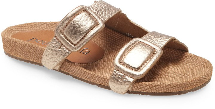 Arielle Snake & Croc Embossed Buckle Slide Sandal
