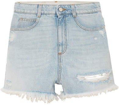 Distressed Denim Shorts - Blue