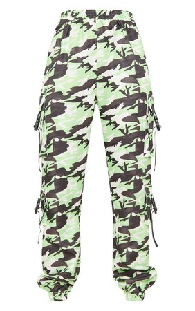 Tall Neon Lime Camo Pocket Detail Cargo Trousers | PrettyLittleThing USA