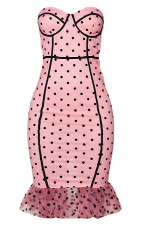 Pink Polka Dot Binding Frill Hem Midi Dress   PrettyLittleThing USA