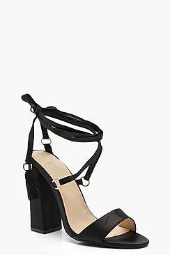 Imogen Flare Block Heel Wrap Strap Sandals