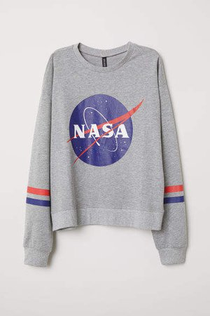 Sweatshirt with Printed Design - Gray