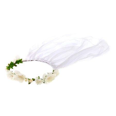 Claire's Club Flower Girl Flower Garland Veil - White