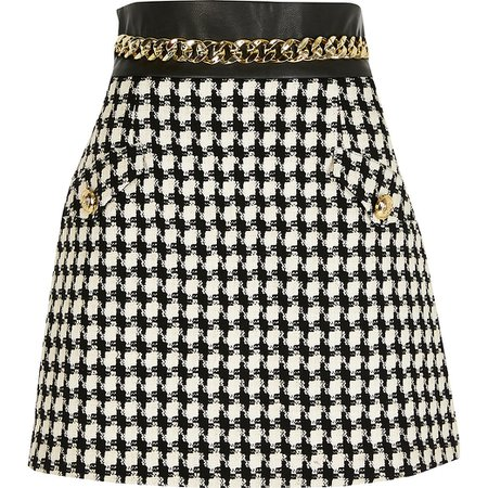 Black boucle check chain belted mini skirt | River Island