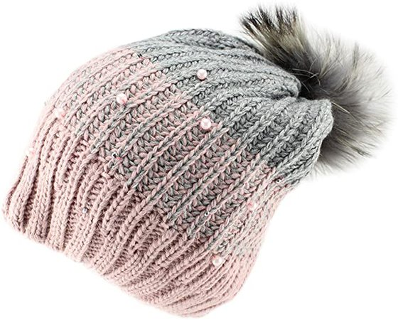 Amazon.com: Barbaras Girls' Pink Grey Warm Winter Natural Fur Pom Pom Beanie Hat (Mommy & Me Style): Clothing