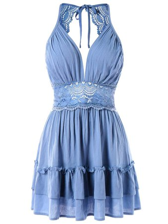 2018 Plunge Crochet Insert A Line Dress LIGHT SKY BLUE XL In Casual Dresses Online Store. Best Club Short Dress For Sale | DressLily.com