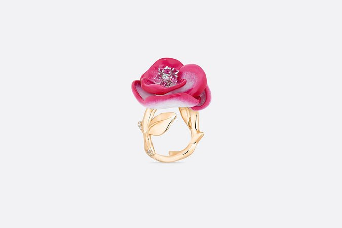 Rose Dior Pop ring, 18K pink and white gold, diamonds, pink sapphires and pink lacquer - products   DIOR