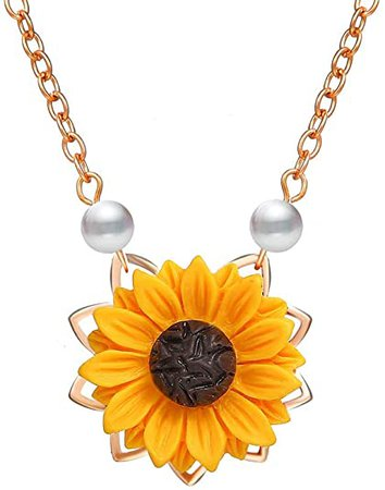 Amazon.com: DIDA Sunflower Pearl Leaf Chain Resin Boho Handmade Drop Pendant Choker Necklace Plated Gold/Rose Gold/Silver (silver): Clothing