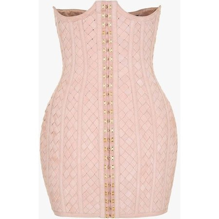 Woven suede mini dress | Women's leather dresses | Balmain ($7,845)