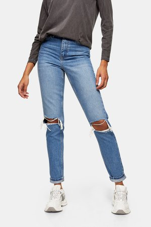 Mid Blue Double Ripped Mom Tapered Jeans