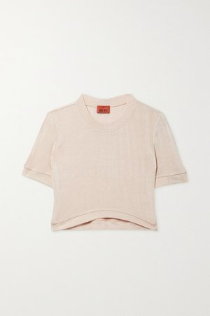 James Cropped Stretch-knit T-shirt - Beige