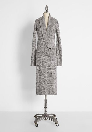 Cozy Touches Longline Cardigan in Heather Grey   ModCloth