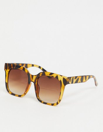 Pieces oversized square sunglasses in brown tortoiseshell | ASOS