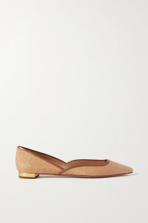 Maia Leather-trimmed Raffia Ballet Flats - Neutral