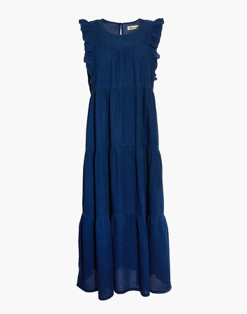 Petite Indigo Ruffled-Bodice Tiered Midi Dress