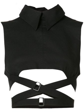 black sleeveless crossed strap top
