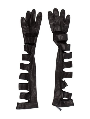 Alexander McQueen Leather Cut-Out Elongated Gloves - Accessories - ALE58909 | The RealReal