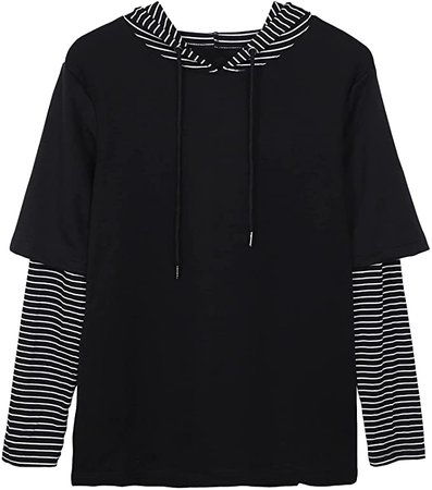 ASTANFY Womens Color Block Hoodie Striped Long Sleeve Tops Casual Sweatshirts Black at Amazon Women's Clothing store