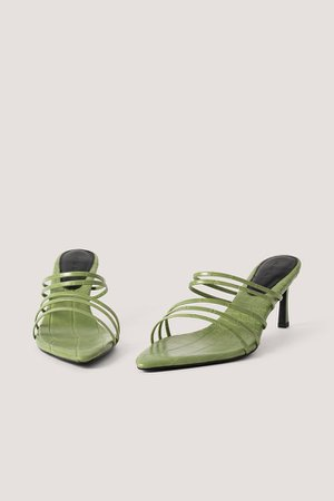 Strappy Pointy Sandals Green | na-kd.com
