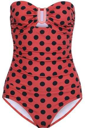 Strapless Ruched Polka-dot Swimsuit
