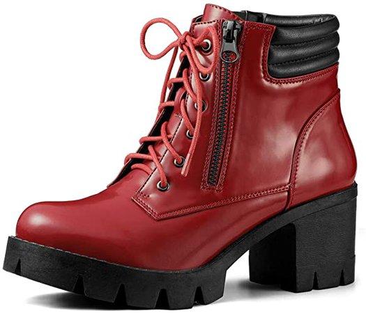 Amazon.com | Allegra K Women's Chunky Heel Lace Up Zipper Red Combat Boots - 7 M US | Ankle & Bootie