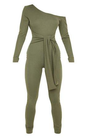 Khaki Sweat Jumpsuit | Jumpsuits & Playsuits | PrettyLittleThing