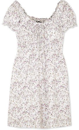 Shirred Floral-print Voile Mini Dress - Ivory