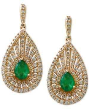 $3688.99 Effy Final Call Emerald (1-1/8 ct. t.w.) and Diamond (1-3/8 ct. t.w.) Teardrop Drop Earrings in 14k Gold - Green