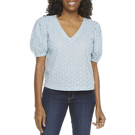 a.n.a Womens V Neck Short Sleeve Blouse - JCPenney