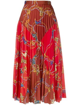 Red Sandro Paris Chain And Pearl Pleated Skirt | Farfetch.com