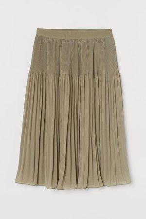 Pleated Skirt - Light khaki green - Ladies   H&M US