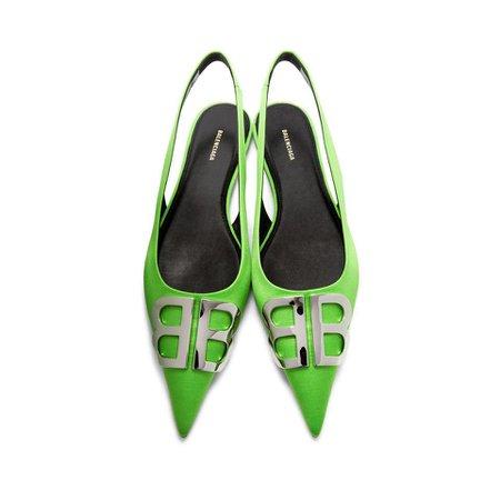 Balenciaga Green Satin Bb Slingback Ballerina Flats in Green - Lyst
