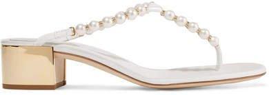 Eliza Embellished Leather Sandals - White