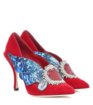 Lori embellished velvet pumps