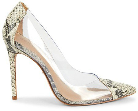 Cendi Snake-Embossed Clear Pumps