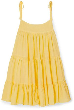 Honorine Tiered Crinkled Cotton-gauze Mini Dress - Yellow