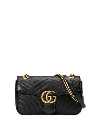 Gucci Black GG Marmont Small Matelassé Leather Shoulder Bag - Farfetch