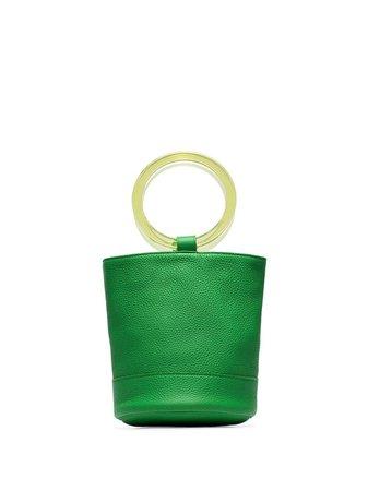 Green Simon Miller lime green Bonsai 20 bracelet handle leather bucket bag S804901066340 - Farfetch