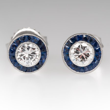 Diamond Stud Earrings w/ Blue Sapphire Halo Platinum