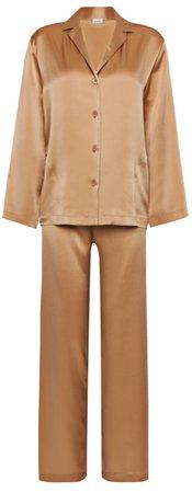 LA PERLA SILK Caramel silk pyjama set