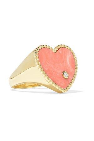 Yvonne Léon   9-karat gold, coral and diamond ring   NET-A-PORTER.COM
