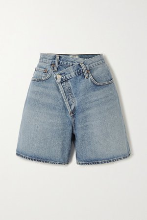 Criss Cross Organic Denim Shorts - Light denim