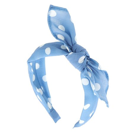 Polka Dot Knotted Bow Headband - Baby Blue | Claire's US