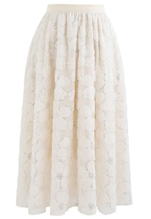 Floral Sequin Double-Layered Mesh Skirt in Cream - Retro, Indie and Unique Fashion