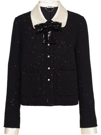 Miu Miu sequin-embellished Tweed Jacket - Farfetch