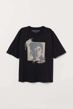 T-shirt with Printed Design - Black